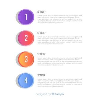 Krok płaski płaski numerowane infographic