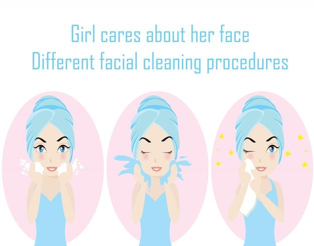Krok różne procedury czyszczenia twarzy