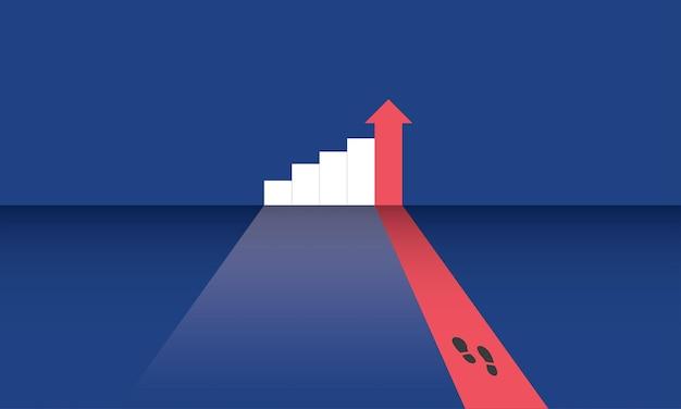 Krok stopy i wykres słupkowy sukces biznesowy koncepcja inspiracja biznesowa