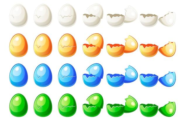Kroki animacje różne kolory rozbite jajko