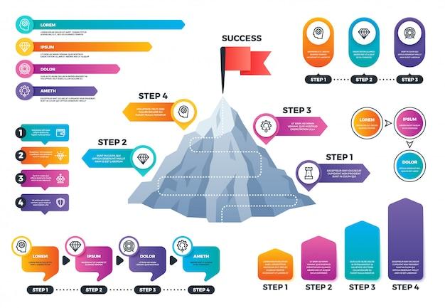 Kroki do sukcesu infografiki. górski wykres z poziomami, osiągnięciami i misją biznesowych wektorów