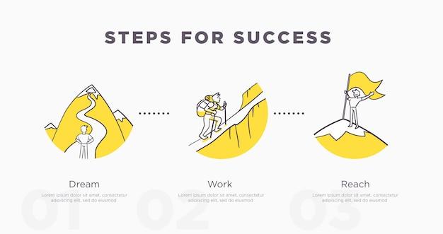 Kroki do sukcesu. osiągnięcia biznesowe i życiowe i koncepcja sukcesu. ilustracja wektorowa