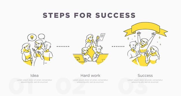 Kroki do sukcesu. osiągnięcia pracy zespołowej i życia oraz koncepcja sukcesu. ilustracja wektorowa