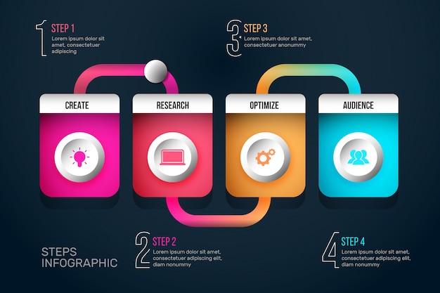 Kroki infographic koncepcja postęp