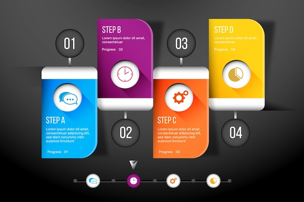 Kroki infographic koncepcja wykresu