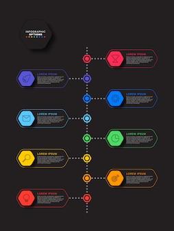 Kroki infographic szablon z realistycznymi elementami sześciokątnymi