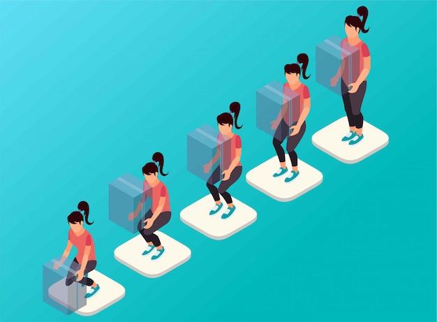 Kroki jak kobieta podnosi pudełko izometryczne ilustracji
