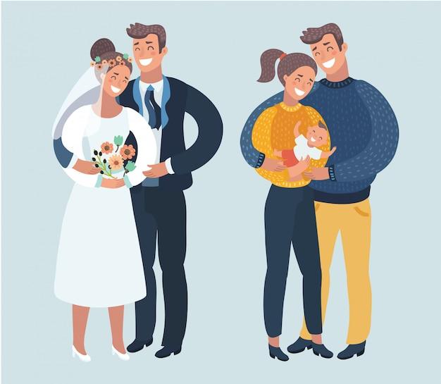 Kroki lub etapy szczęśliwego życia rodzinnego. starzenie się. od dziewczyny i chłopaka do małżeństwa, męża, żony i ciąży. różne sytuacje w związku. mężczyzna i kobieta na przestrzeni lat. ilustracja