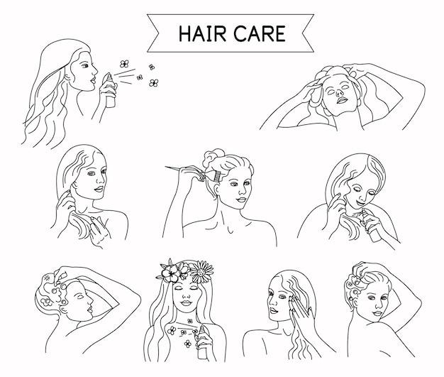 Kroki pielęgnacji włosów styl linii izolowany na białym tle umyj włosy maska balsam do masażu głowy