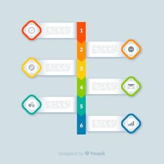 Kroki płaskie kolorowe infografiki