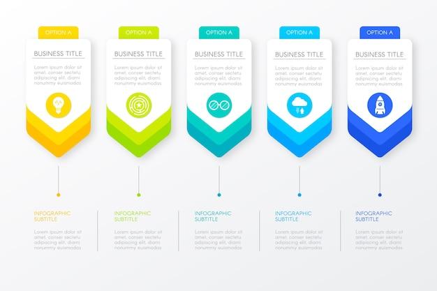 Kroki postęp szablon do infografiki