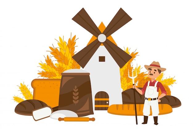 Kroki produkcji chleba zestaw ilustracji. drewniany młyn mielenie pszenicy na kreskówka mąki. postać człowieka z widłami,