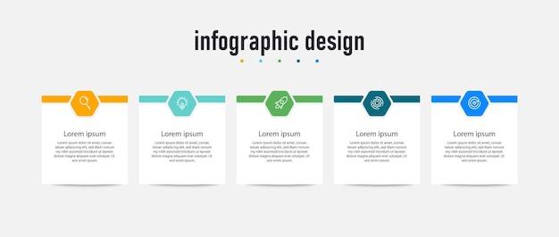 Kroki projekt infografiki na osi czasu wektor premium