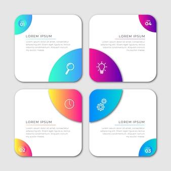 Kroki projekt infografiki na osi czasu
