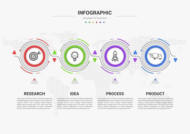 Kroki projekt szablonu elementu infografiki procesu biznesowego na osi czasu