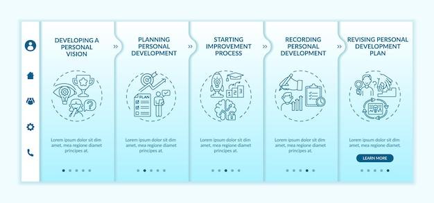 Kroki rozwoju osobistego onboardingowy szablon wektora. responsywna strona mobilna z ikonami. przewodnik po stronie internetowej 5 ekranów krokowych. koncepcja kolorystyczna samodoskonalenia z liniowymi ilustracjami