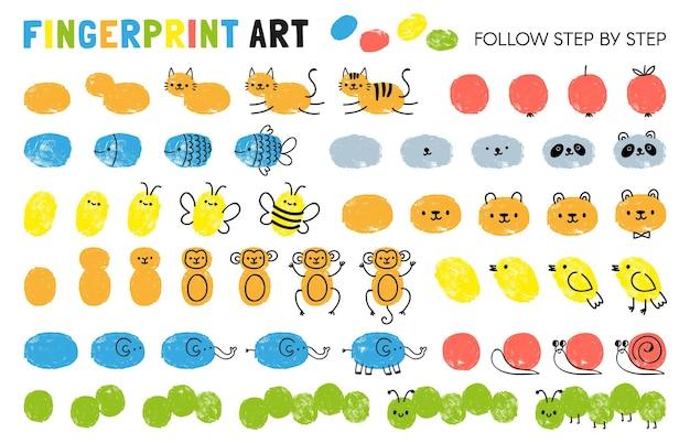 Kroki sztuki odcisków palców. arkusz do nauki rysowania zwierząt. maluj z odciskami palców w przedszkolu. gra na stronie wektor dziecka. rysowanie kota i jabłka, ryby i pszczoły, pandy, małpy
