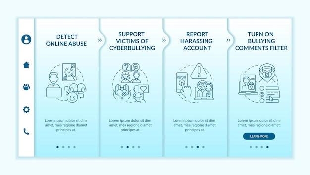 Kroki zapobiegania cybernękaniu — wprowadzenie szablonu wektorowego. responsywna strona mobilna z ikonami. przewodnik po stronie internetowej 4 ekrany kroków. zgłoś koncepcję koloru konta nękającego z liniowymi ilustracjami