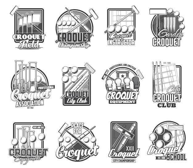 Krokiet sport ikony na białym tle elementy młotka, kołka i piłki