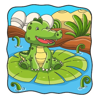Krokodyl ilustracja kreskówka siedzi na kwiat lotosu