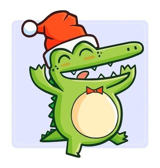 Krokodyl kreskówka boże narodzenie