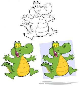 Krokodyl kreskówka maskotka charakter skoki