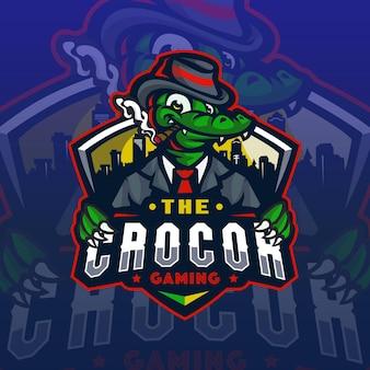 Krokodyl mafiamascot logo