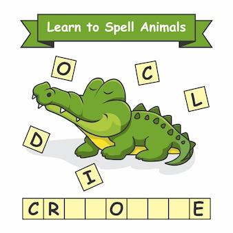Krokodyl naucz się literować zwierzęta