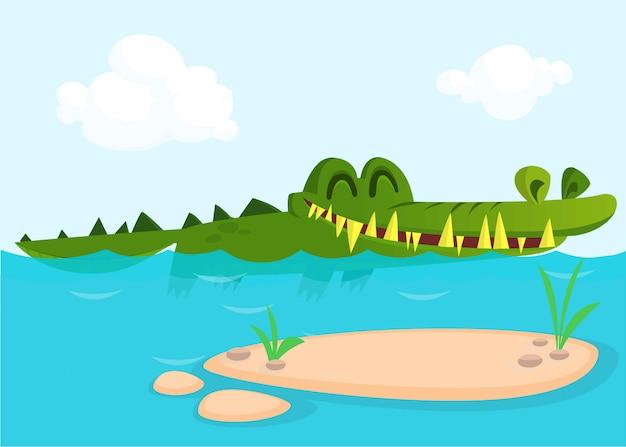 Krokodyl śmieszna kreskówka ilustracja