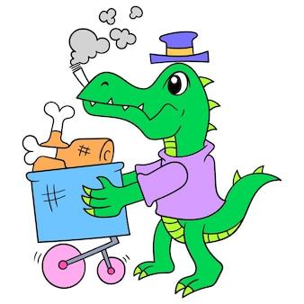 Krokodyl spaceru przewożący wózek wózek kupić artykuły spożywcze mięso, ilustracja wektorowa sztuki. doodle ikona obrazu kawaii.