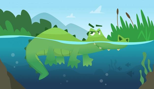 Krokodyl w wodzie. aligatora płaza gad dziki zielony gniewny dzikiego zwierzęcia pływacki kreskówki tło