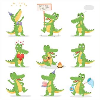 Krokodyle ustawiający na białym odosobnionym tle. działanie i stawianie ilustracji aligatora. płaski prosty charakter postaci