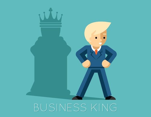 Król biznesu. biznesmen z cieniem jako szachowy król. lider, szef sukcesu, ludzkie ego.