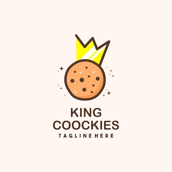 Król ciasteczka płaski projekt symbolu logo ilustracja