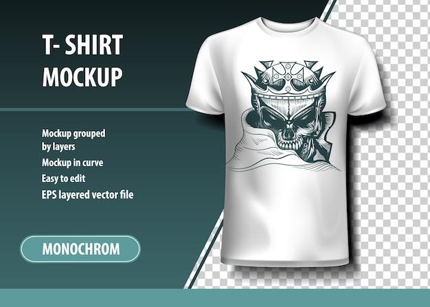 Król czaszek. szablon koszulki, w pełni edytowalne.