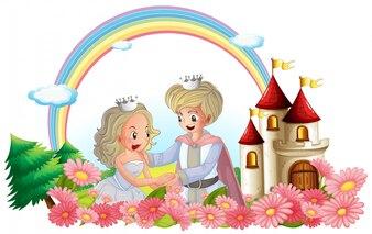 Król i królowa przed swoim zamkiem