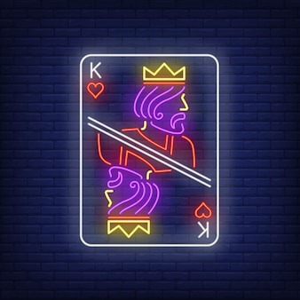 Król kier kart do gry neon znak.