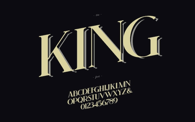 Król klasyczna elegancka czcionka na ślub, kartka z życzeniami, znak świąteczny, plakat imprezowy, książka, koszulka, ulotka, dekoracja, baner, drukowanie. alfabet nowoczesnej kaligrafii