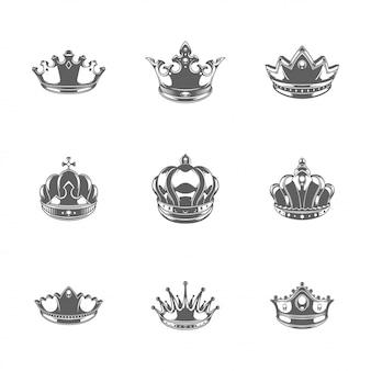 Król korony sylwetki zestaw ilustracji wektorowych na białym tle