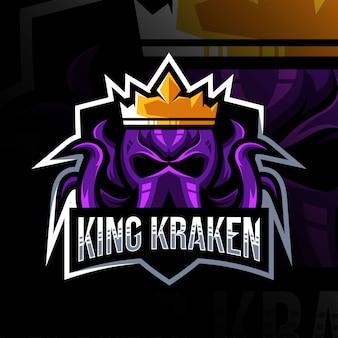 Król kraken maskotka logo szablon e-sportu