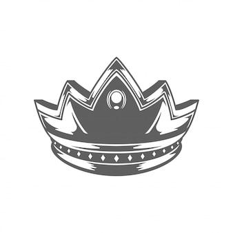 Król królewski ilhouette korony na białym tle.