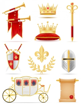 Król królewskie złote atrybuty średniowiecznej mocy ilustracji wektorowych