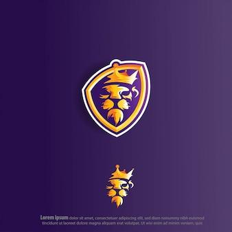 Król lew e sport logo wektor