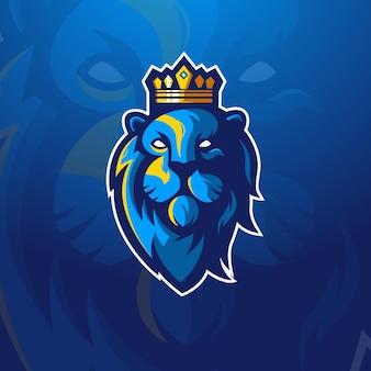 Król Lew Esport Maskotka Logo Design Ilustracja Wektor Premium Wektorów