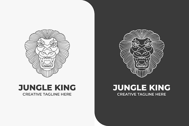 Król lew jungle animal monoline logo
