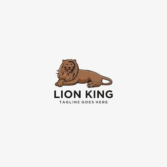 Król lew siedzący logo ilustracja.