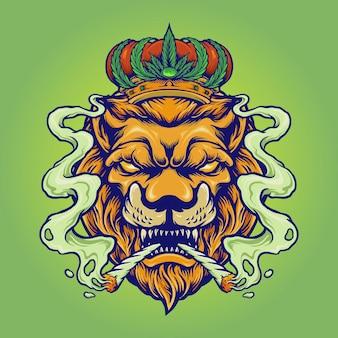 Król lew smoke weed maskotka ilustracje wektorowe dla twojej pracy logo, maskotka t-shirt towar, naklejki i projekty etykiet, plakat, kartki okolicznościowe reklama firmy lub marki.