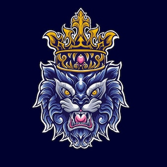 Król lew z koroną logo maskotka illustrator