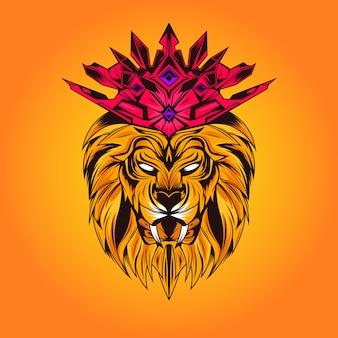 Król lew z koroną na głowie