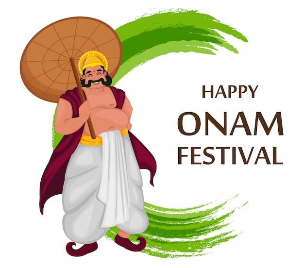 Król mahabali. festiwal happy onam w kerali
